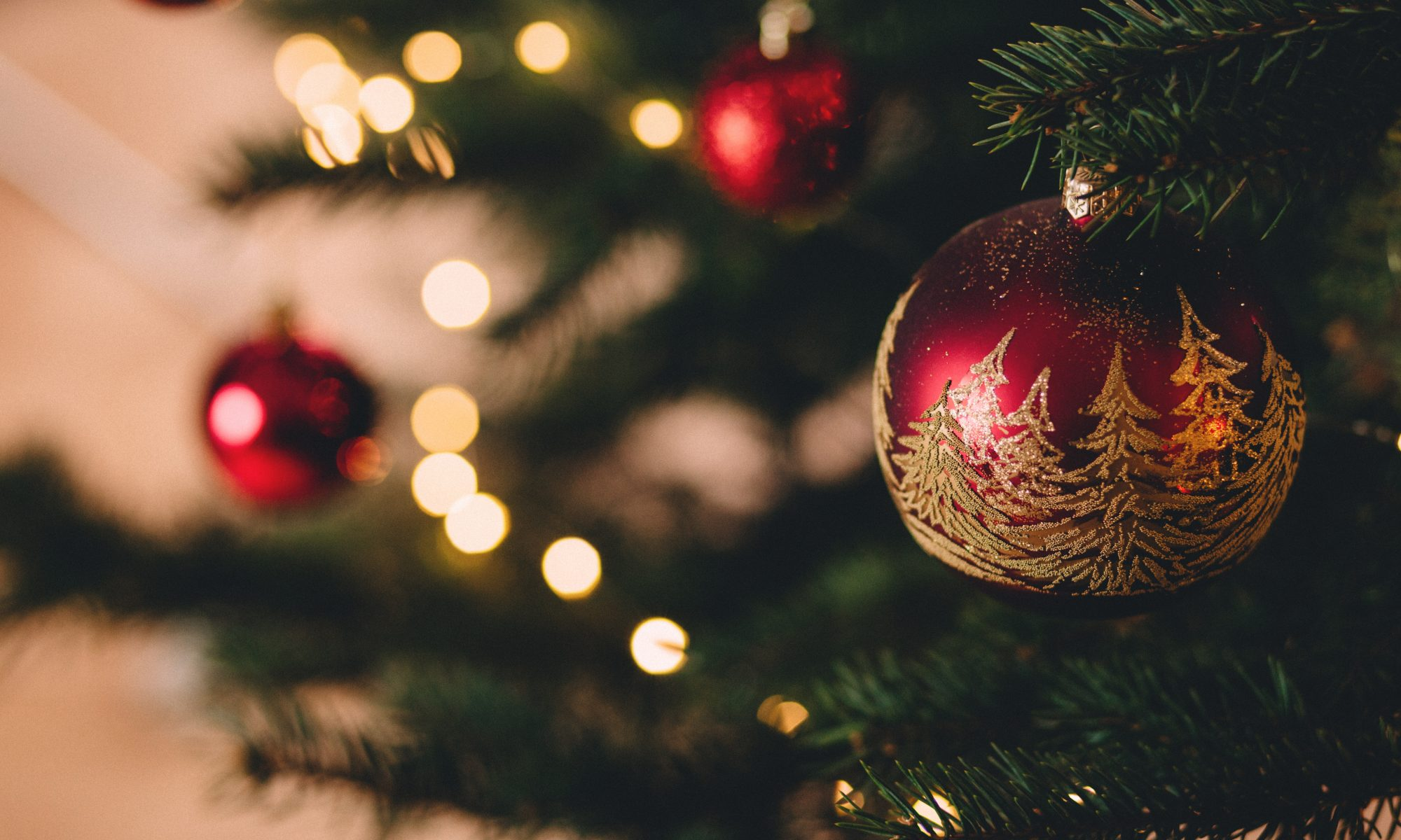 A bauble on a Christmas Tree