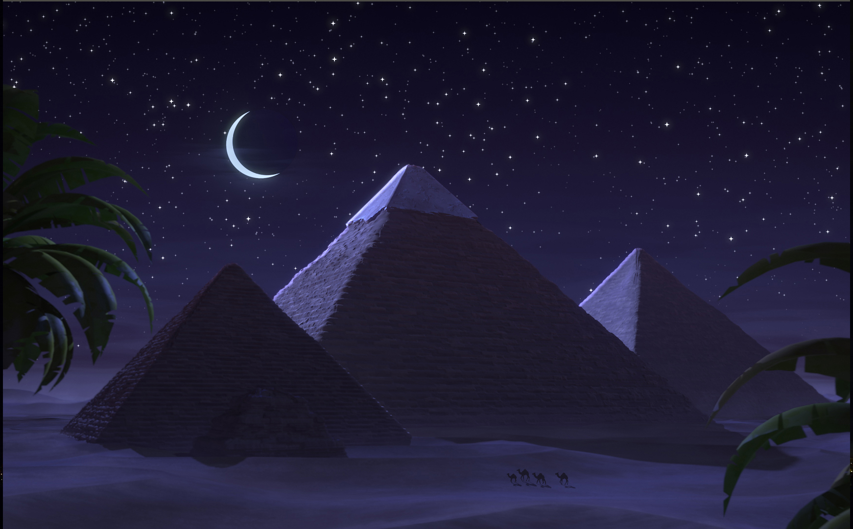An animated image of the Giza Pyramids at night, from the movie 'Tomb Racer'