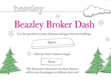 Beazley Broker Dash Game Start Page Screenshot